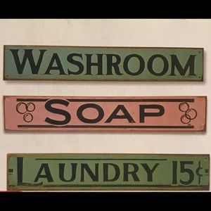 Vintage Metal Washroom Sign